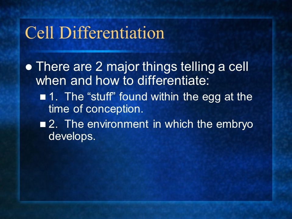 Cell Differentiation There are 2 major things telling a cell when and how to differentiate: 1. The stuff found within the egg at the time of conceptio