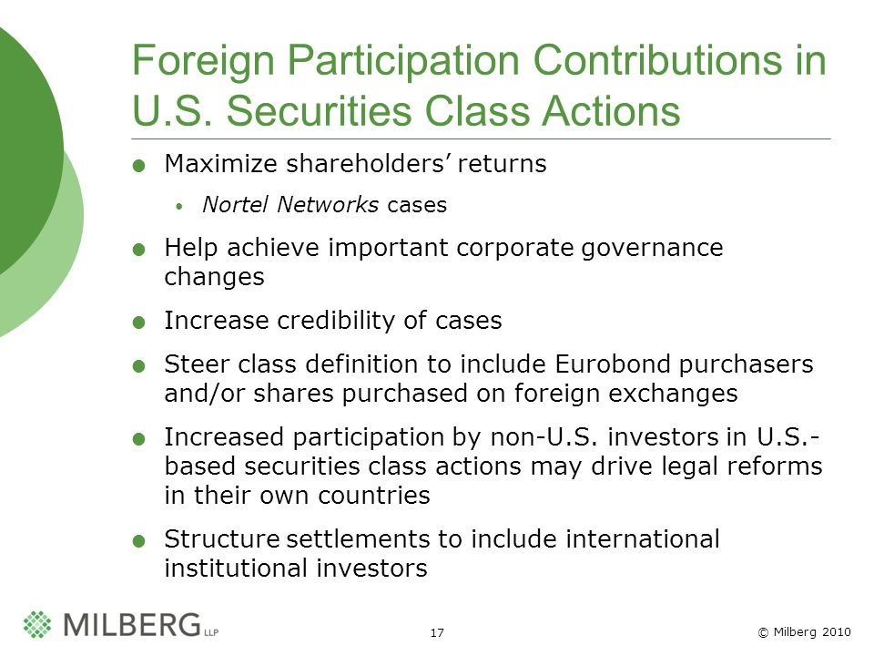 © Milberg Foreign Participation Contributions in U.S.