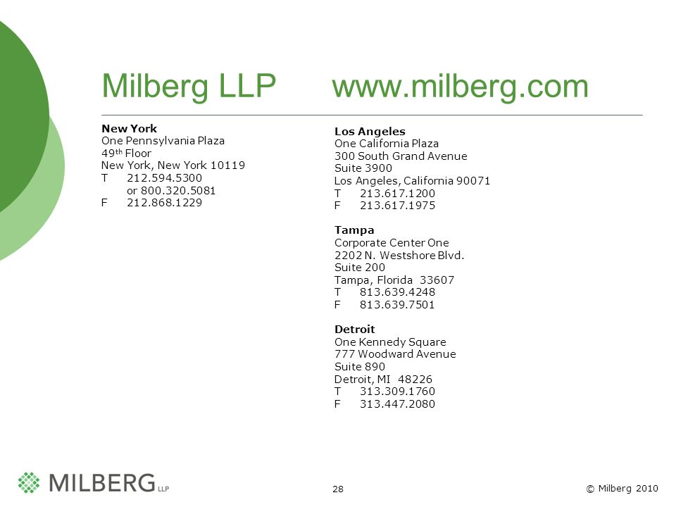 © Milberg 2010 28 Milberg LLP www.milberg.com New York One Pennsylvania Plaza 49 th Floor New York, New York 10119 T 212.594.5300 or 800.320.5081 F 21