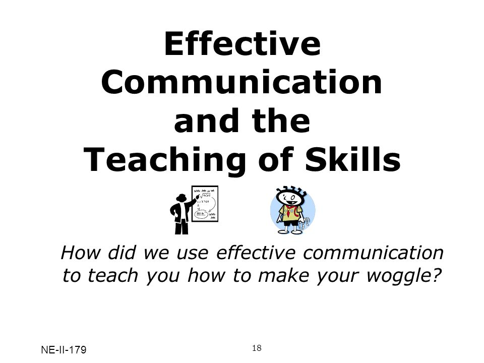 NE-II-179 Effective Communication and the Teaching of Skills 18A Q: How did we use effective communication to teach you how to make your woggle.