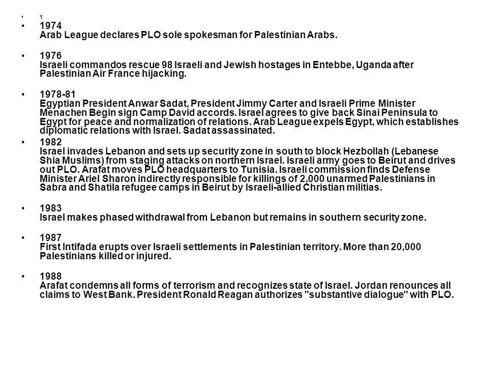 1 1974 Arab League declares PLO sole spokesman for Palestinian Arabs. 1976 Israeli commandos rescue 98 Israeli and Jewish hostages in Entebbe, Uganda