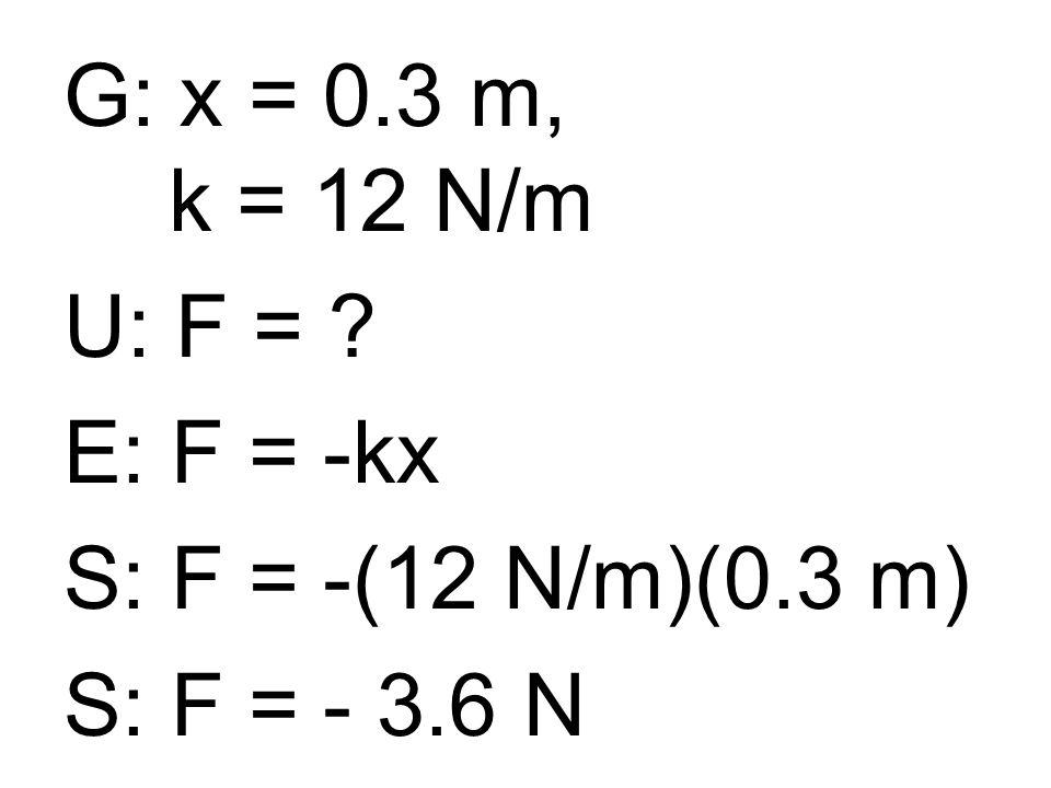 G: x = 0.3 m, k = 12 N/m U: F = E: F = -kx S: F = -(12 N/m)(0.3 m) S: F = - 3.6 N