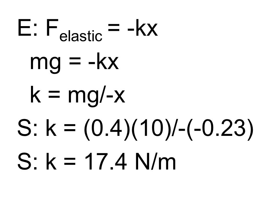 E: F elastic = -kx mg = -kx k = mg/-x S: k = (0.4)(10)/-(-0.23) S: k = 17.4 N/m