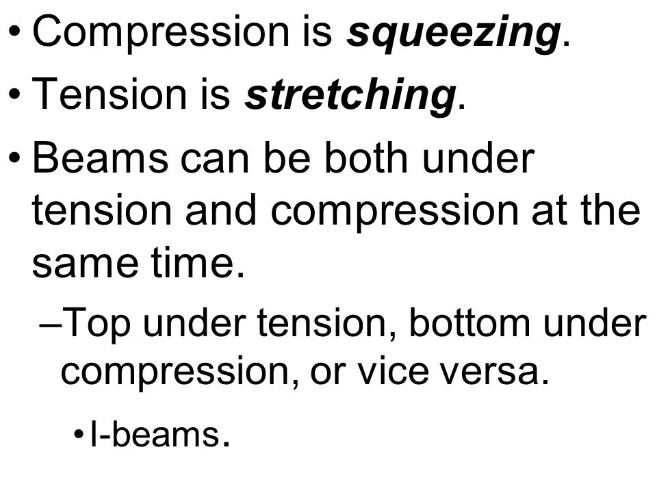 Compression is squeezing. Tension is stretching.