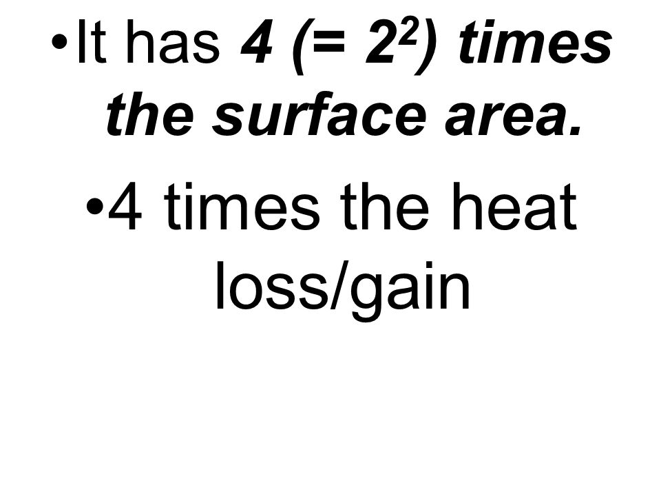 It has 4 (= 2 2 ) times the surface area. 4 times the heat loss/gain