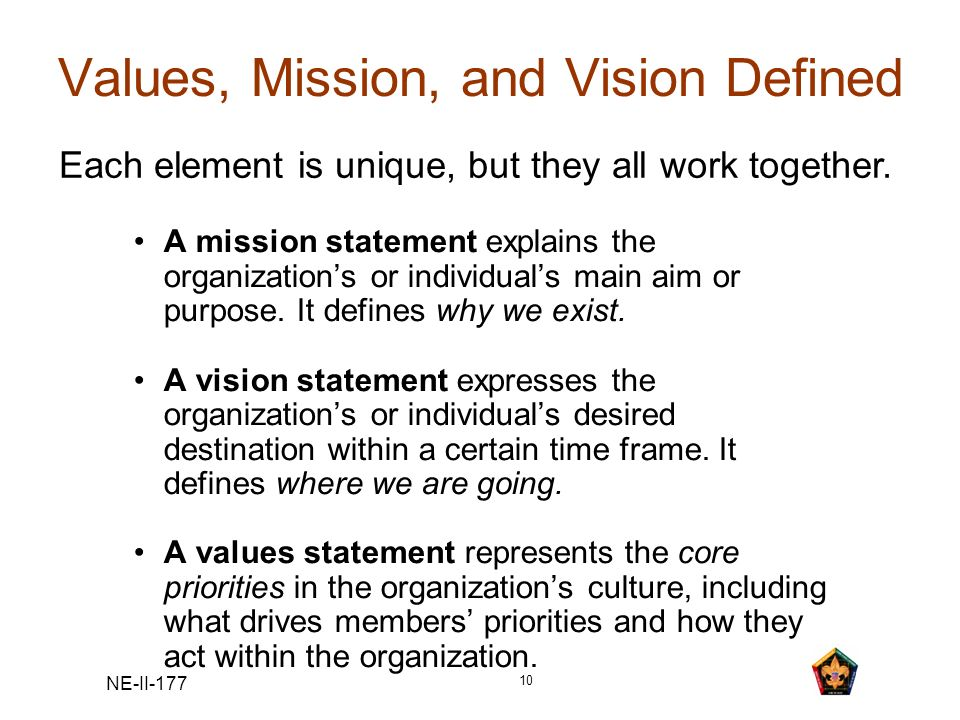 NE-II-177 10 Values, Mission, and Vision Defined A mission statement explains the organizations or individuals main aim or purpose. It defines why we