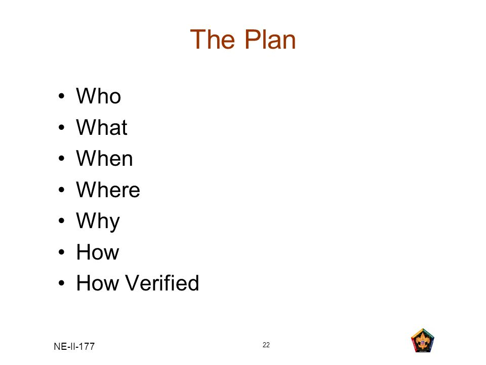 NE-II-177 22 The Plan Who What When Where Why How How Verified