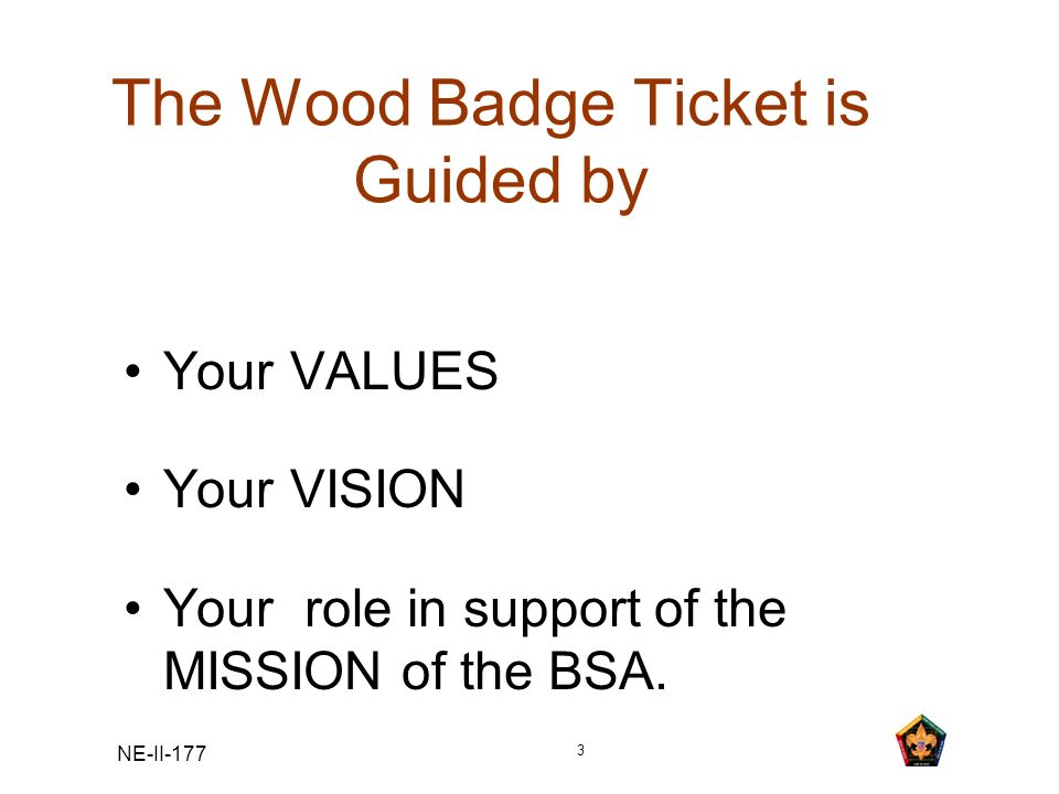 NE-II-177 3 The Wood Badge Ticket is Guided by Your VALUES Your VISION Your role in support of the MISSION of the BSA.