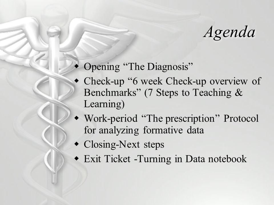 Agenda Opening The Diagnosis Check-up 6 week Check-up overview of Benchmarks (7 Steps to Teaching & Learning) Work-period The prescription Protocol for analyzing formative data Closing-Next steps Exit Ticket -Turning in Data notebook