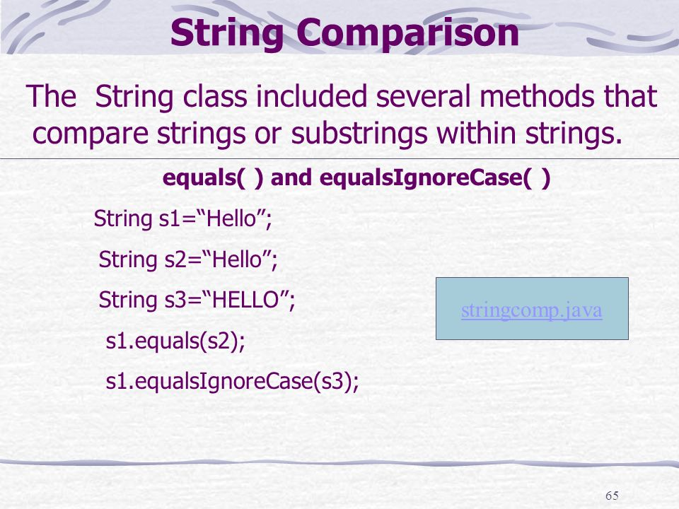 65 String Comparison The String class included several methods that compare strings or substrings within strings.