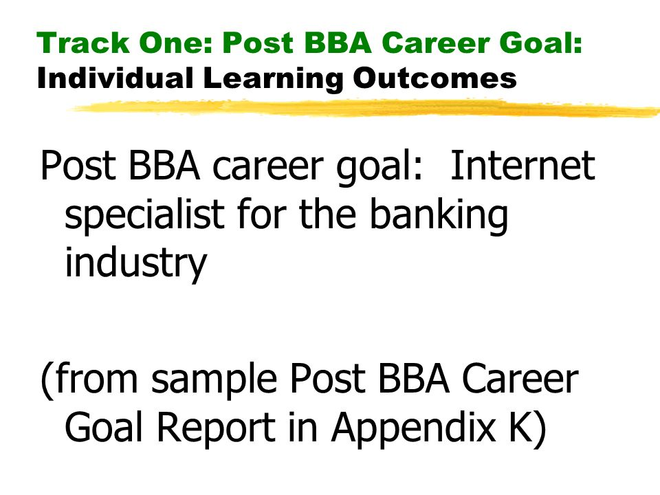 Track One: Post BBA Career Goal: Individual Learning Outcomes Post BBA career goal: Internet specialist for the banking industry (from sample Post BBA