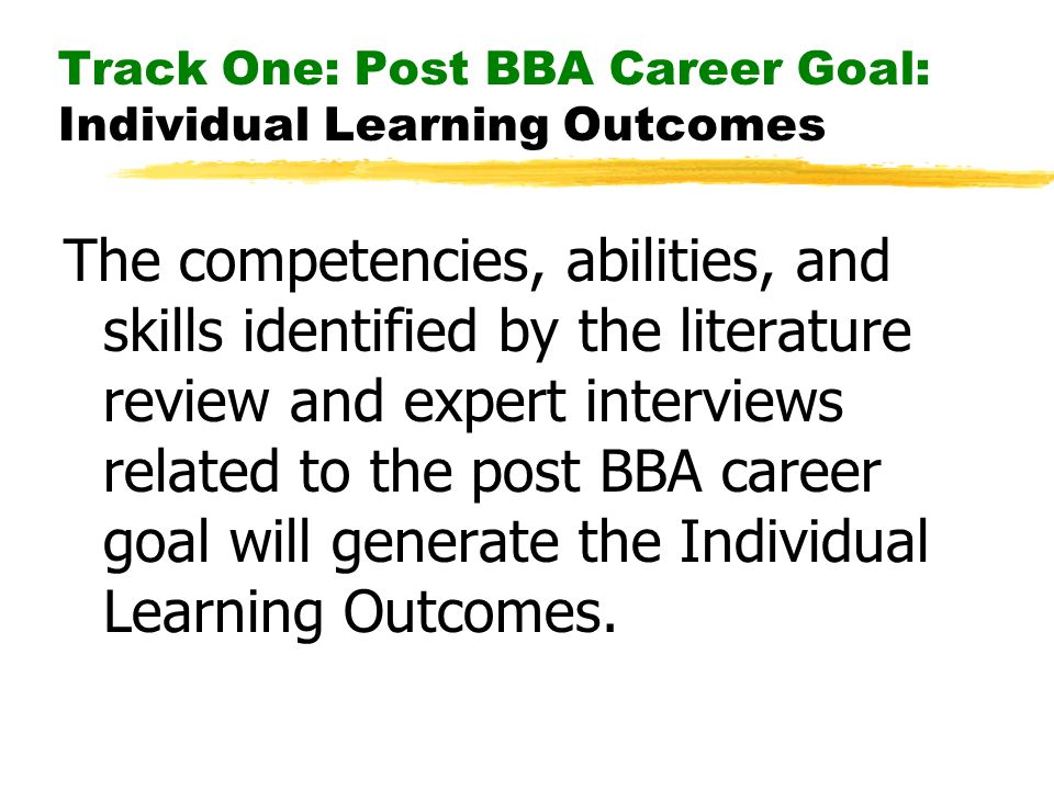 Track One: Post BBA Career Goal: Individual Learning Outcomes The competencies, abilities, and skills identified by the literature review and expert i