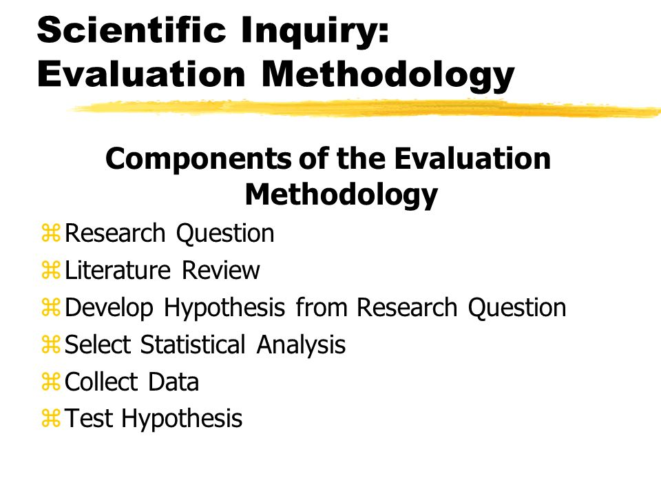 Scientific Inquiry: Evaluation Methodology Components of the Evaluation Methodology zResearch Question zLiterature Review zDevelop Hypothesis from Res