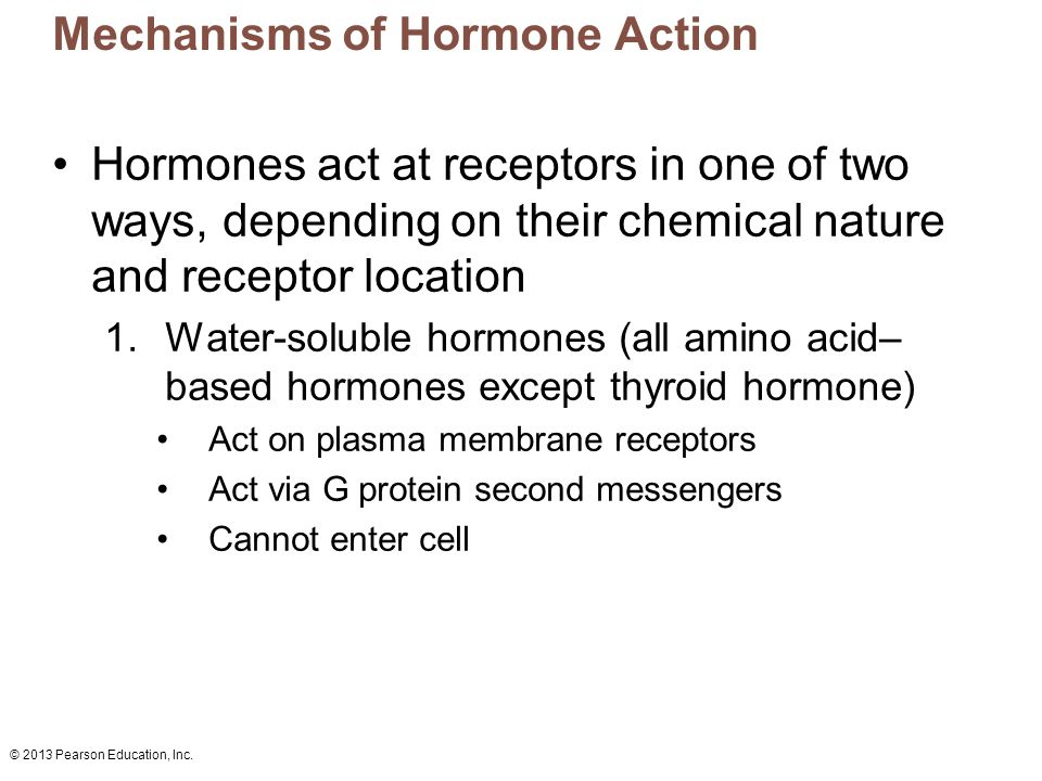 © 2013 Pearson Education, Inc. Mechanisms of Hormone Action Hormones act at receptors in one of two ways, depending on their chemical nature and recep