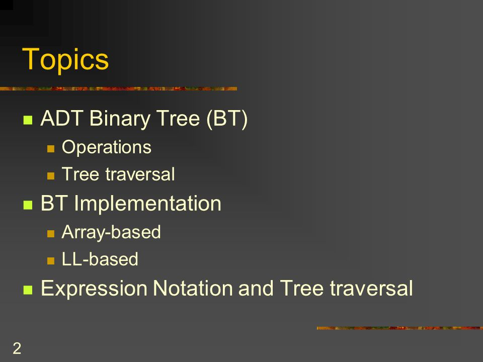 23 Reference-Based Implementation Typical for implementing BTs Different constructors to allow defining the BT in a variety of circumstances Only the pointer to the root of the tree can be accessed by BT class clients The data structure would be private data member of a class of binary trees