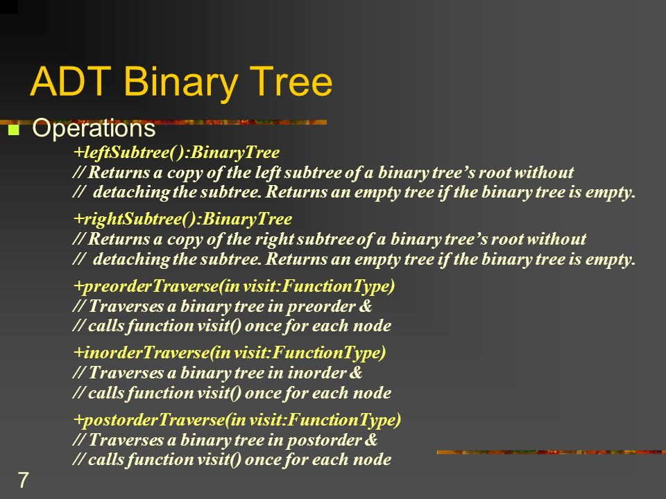 18 BT Array-Based Implementation public class TreeNode // node in the tree { private Object item ;// data item in the tree private int leftChild; // index to left child private int rightChild; // index to right child …….