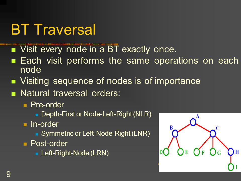 30 The BinaryTreeBasis class public abstract class BinaryTreeBasis { protected TreeNode root; public BinaryTreeBasis () { root = null; } //end constructor public BinaryTreeBasis (object rootItem) { root = new TreeNode (rootItem, null, null); } //end constructor public boolean isEmpty() { //true is tree is empty return root == null; } public void makeEmpty() { //sets root of tree to null root =null; }