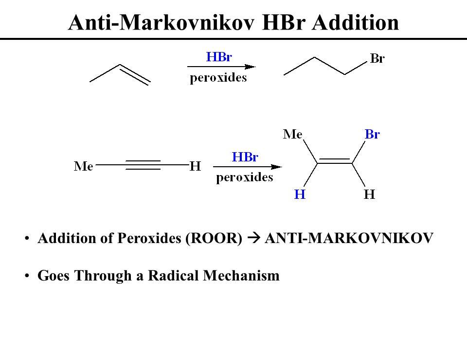 Anti-Markovnikov HBr Addition Addition of Peroxides (ROOR) ANTI-MARKOVNIKOV Goes Through a Radical Mechanism