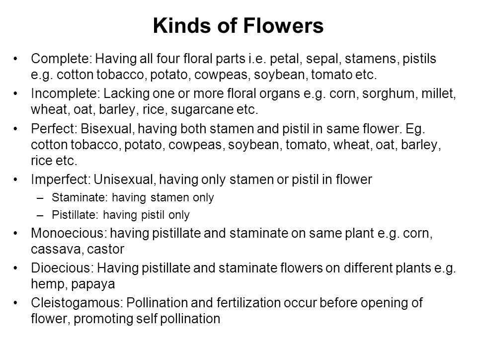 Kinds of Flowers Complete: Having all four floral parts i.e. petal, sepal, stamens, pistils e.g. cotton tobacco, potato, cowpeas, soybean, tomato etc.