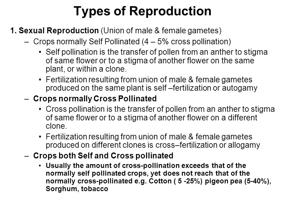 Types of Reproduction 1. Sexual Reproduction (Union of male & female gametes) –Crops normally Self Pollinated (4 – 5% cross pollination) Self pollinat