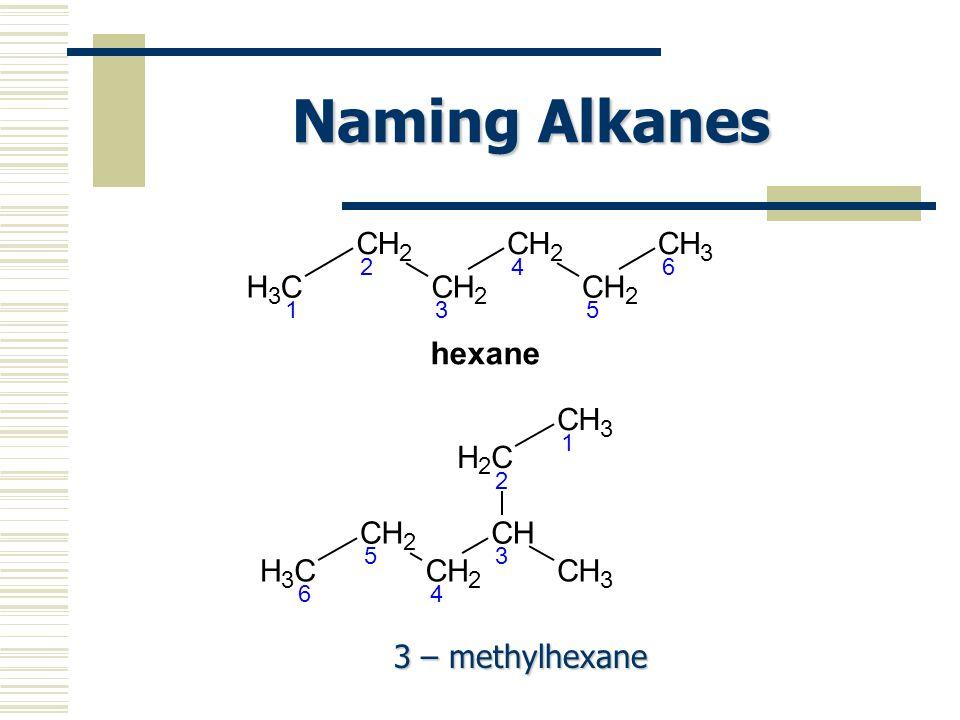 Naming Alkanes CH 3 1 CH 2 2 CH 2 3 CH 2 4 CH 2 5 CH 3 6 hexane CH 3 6 CH 2 5 CH 2 4 CH 3 CH 3 CH 2 2 CH 3 1 3 – methylhexane 3 – methylhexane
