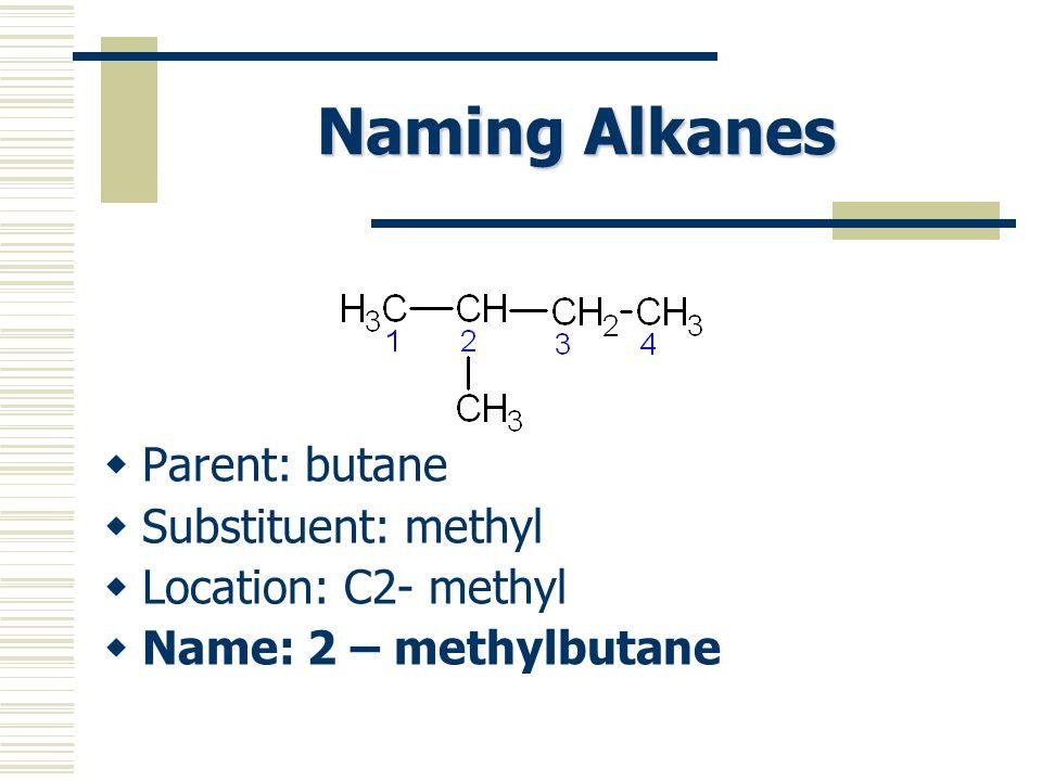 Naming Alkanes Parent: butane Substituent: methyl Location: C2- methyl Name: 2 – methylbutane