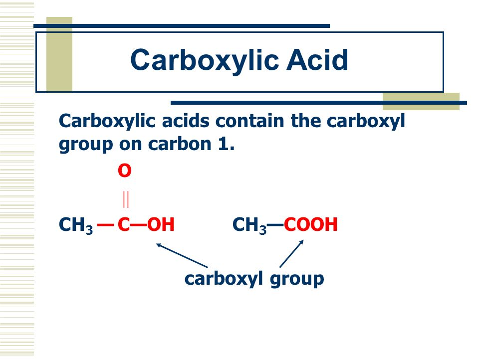 Carboxylic Acid Carboxylic acids contain the carboxyl group on carbon 1. O CH 3 COH CH 3COOH carboxyl group