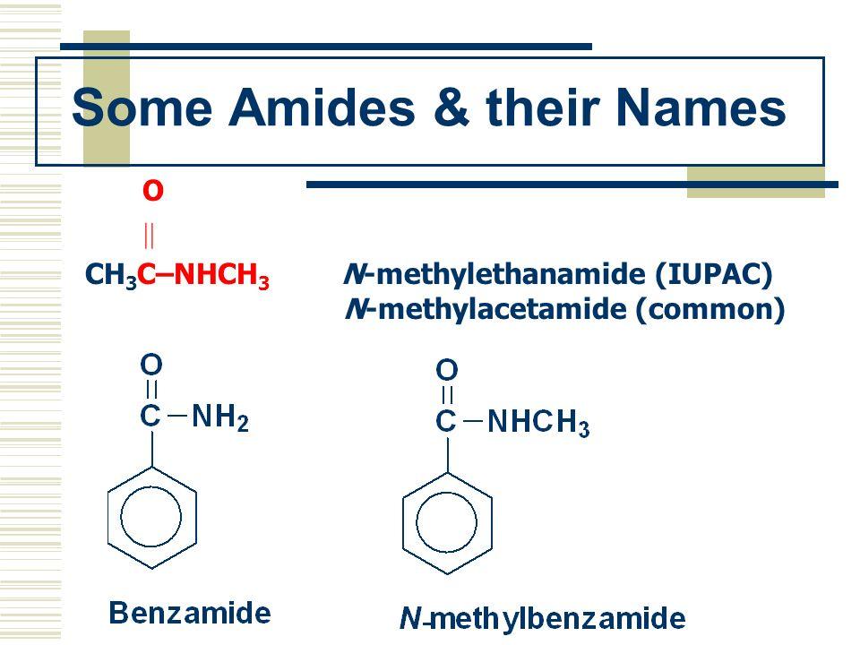 Some Amides & their Names O CH 3 C–NHCH 3 N-methylethanamide (IUPAC) N-methylacetamide (common)