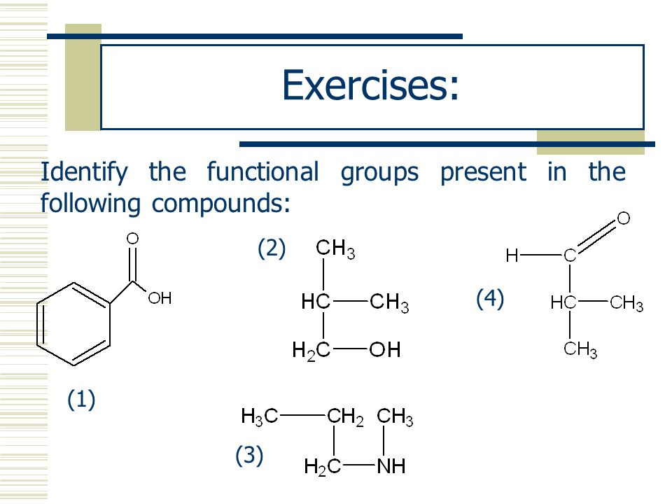 Exercises: Identify the functional groups present in the following compounds: (1) (2) (4) (3)