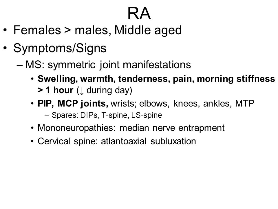 Ankylosing Spondylitis Inflammatory axial joint disease; Sacroiliitis Affects young males Characterized by chronic lower back pain + radiation to thighs/gluteus, ascending, with stiffness and ROM.