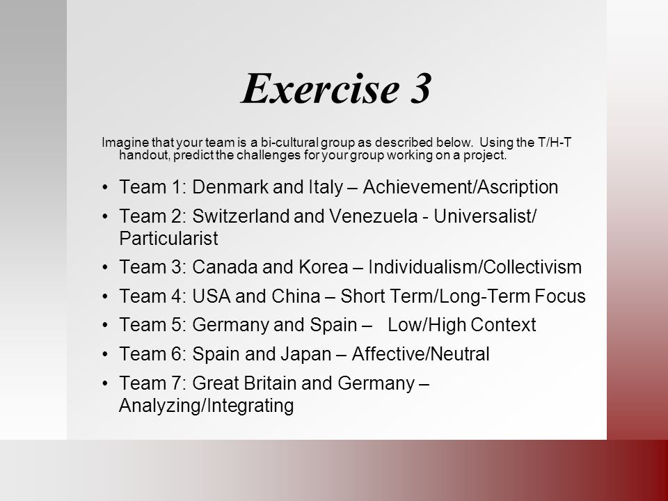 Exercise 3 Imagine that your team is a bi-cultural group as described below.