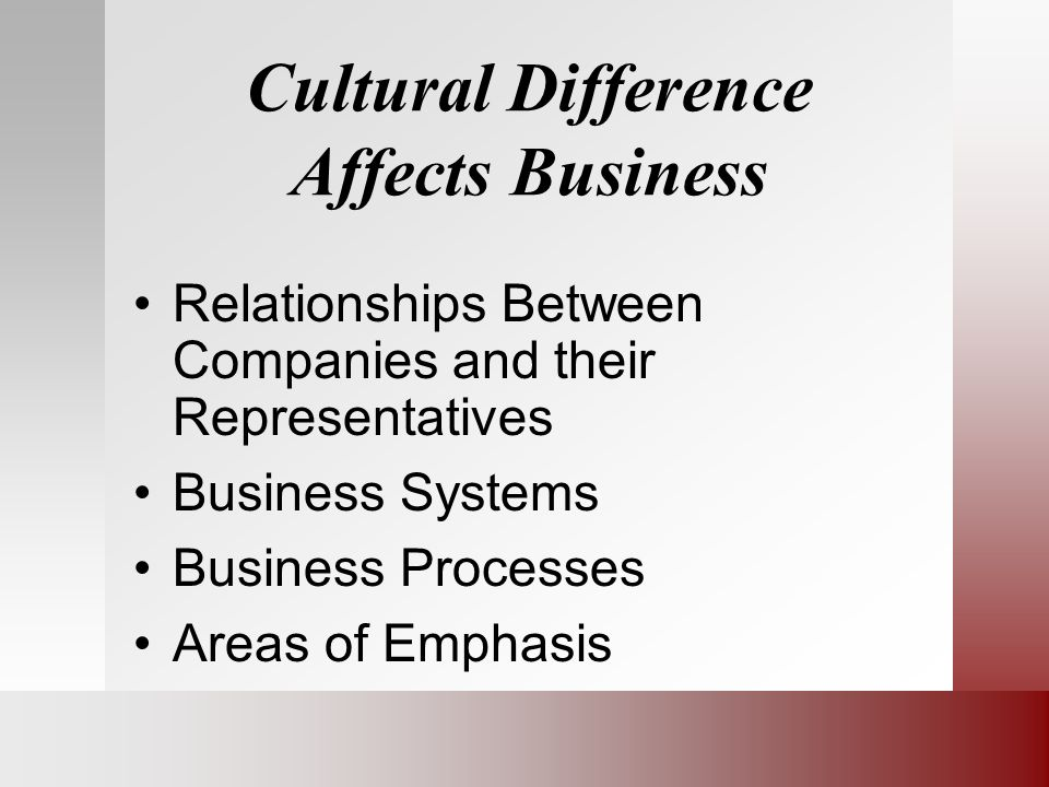 Cultural Difference Affects Business Relationships Between Companies and their Representatives Business Systems Business Processes Areas of Emphasis