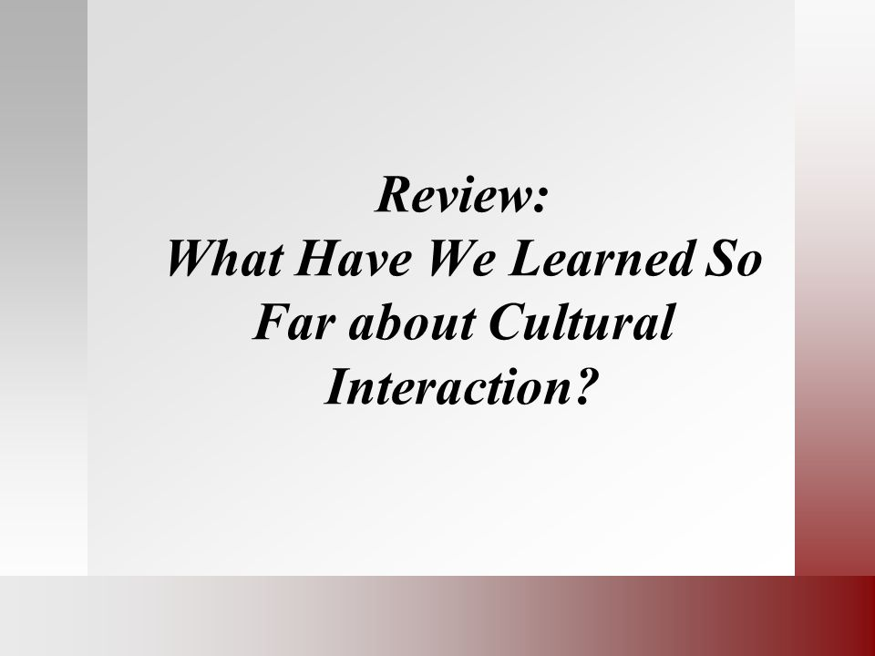 Review: What Have We Learned So Far about Cultural Interaction?
