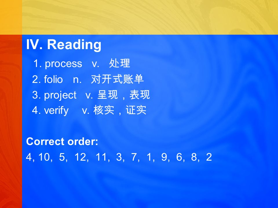 IV. Reading 1. process v. 2. folio n. 3. project v.