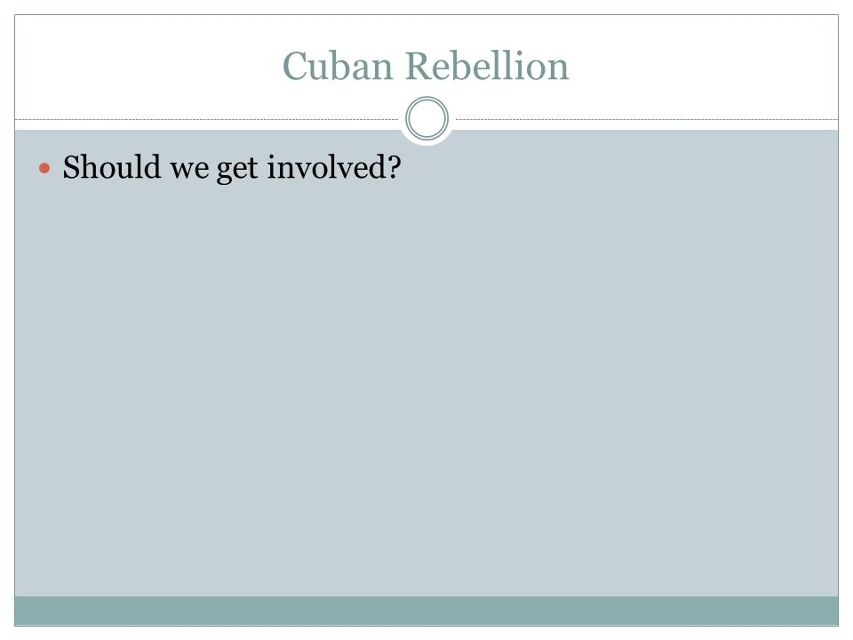 Cuban Rebellion Should we get involved?