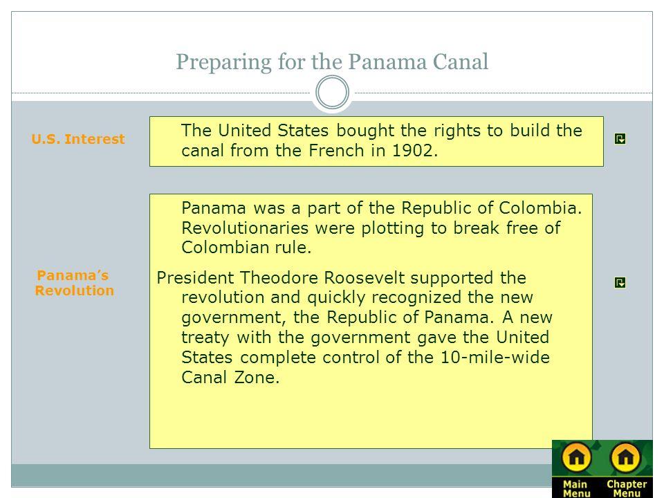 Preparing for the Panama Canal Panama was a part of the Republic of Colombia. Revolutionaries were plotting to break free of Colombian rule. President