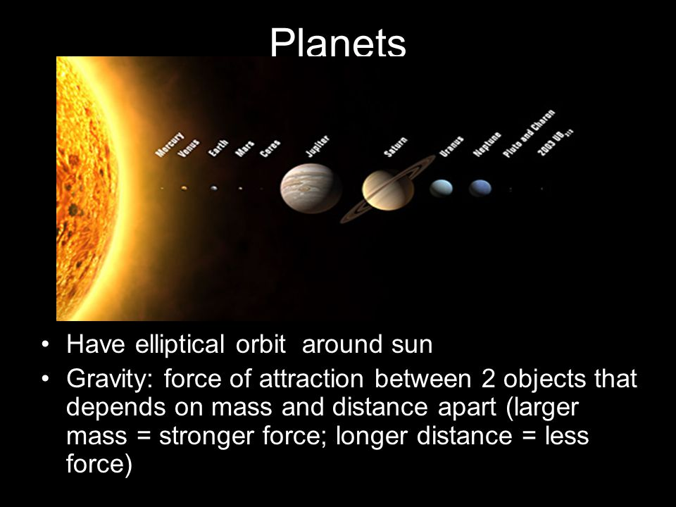 Planets Have elliptical orbit around sun Gravity: force of attraction between 2 objects that depends on mass and distance apart (larger mass = stronge