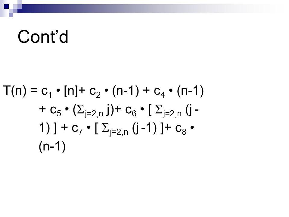 Contd T(n) = c 1 [n]+ c 2 (n-1) + c 4 (n-1) + c 5 ( j=2,n j)+ c 6 [ j=2,n (j - 1) ] + c 7 [ j=2,n (j -1) ]+ c 8 (n-1)