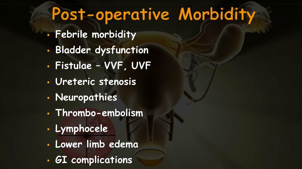 Febrile morbidity Febrile morbidity Bladder dysfunction Bladder dysfunction Fistulae – VVF, UVF Fistulae – VVF, UVF Ureteric stenosis Ureteric stenosi