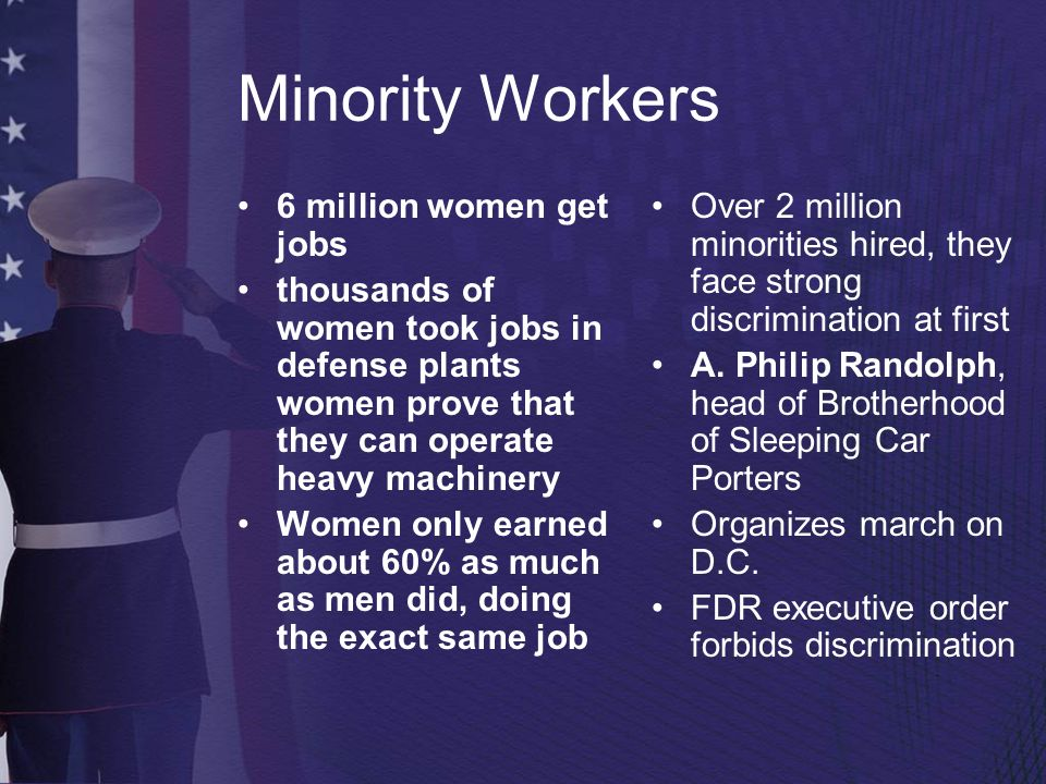 Minority Workers 6 million women get jobs thousands of women took jobs in defense plants women prove that they can operate heavy machinery Women only