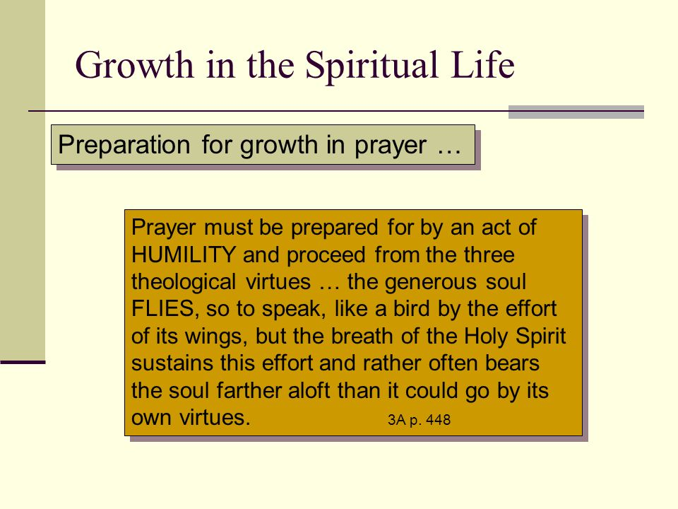 Growth in the Spiritual Life Preparation for growth in prayer … Prayer must be prepared for by an act of HUMILITY and proceed from the three theologic