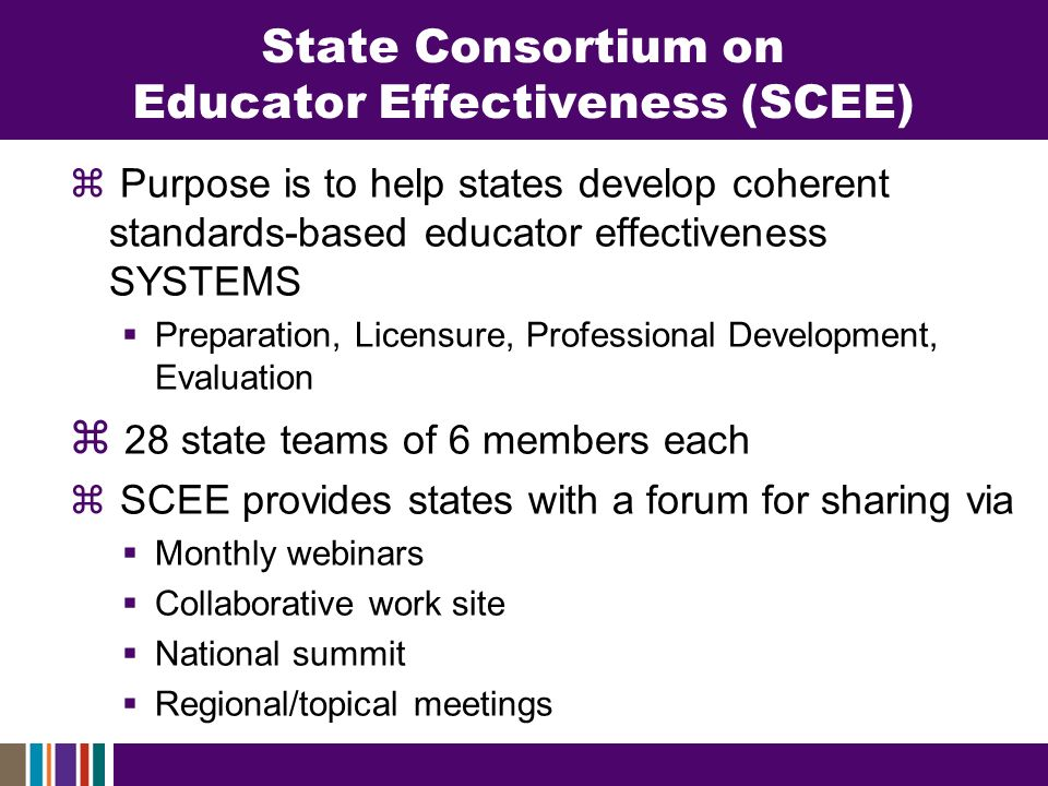 State Consortium on Educator Effectiveness (SCEE) Purpose is to help states develop coherent standards-based educator effectiveness SYSTEMS Preparation, Licensure, Professional Development, Evaluation 28 state teams of 6 members each SCEE provides states with a forum for sharing via Monthly webinars Collaborative work site National summit Regional/topical meetings