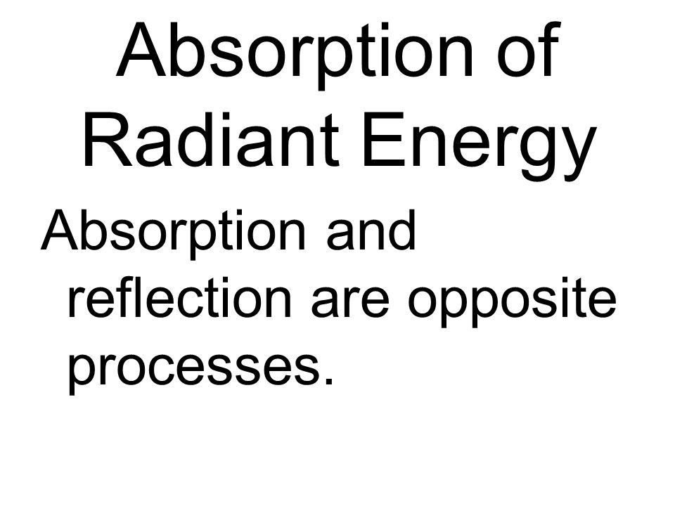 Absorption of Radiant Energy Absorption and reflection are opposite processes.