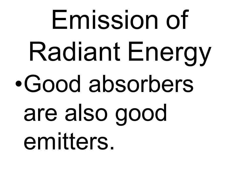 Emission of Radiant Energy Good absorbers are also good emitters.
