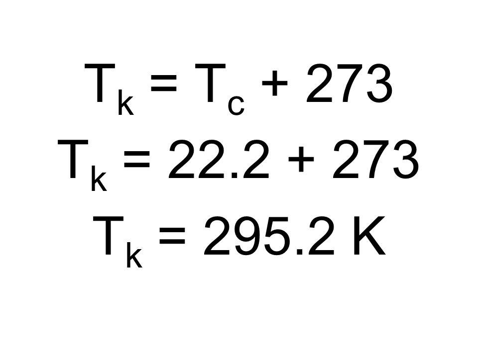 T k = T c + 273 T k = 22.2 + 273 T k = 295.2 K