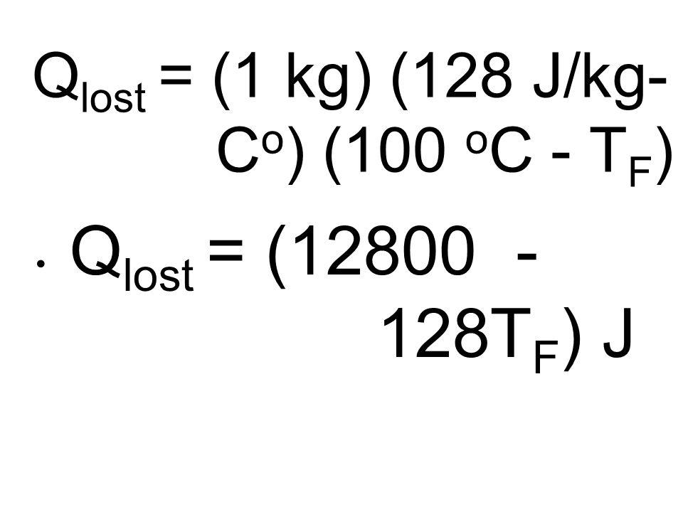 Q lost = (1 kg) (128 J/kg- C o ) (100 o C - T F ) Q lost = (12800 - 128T F ) J
