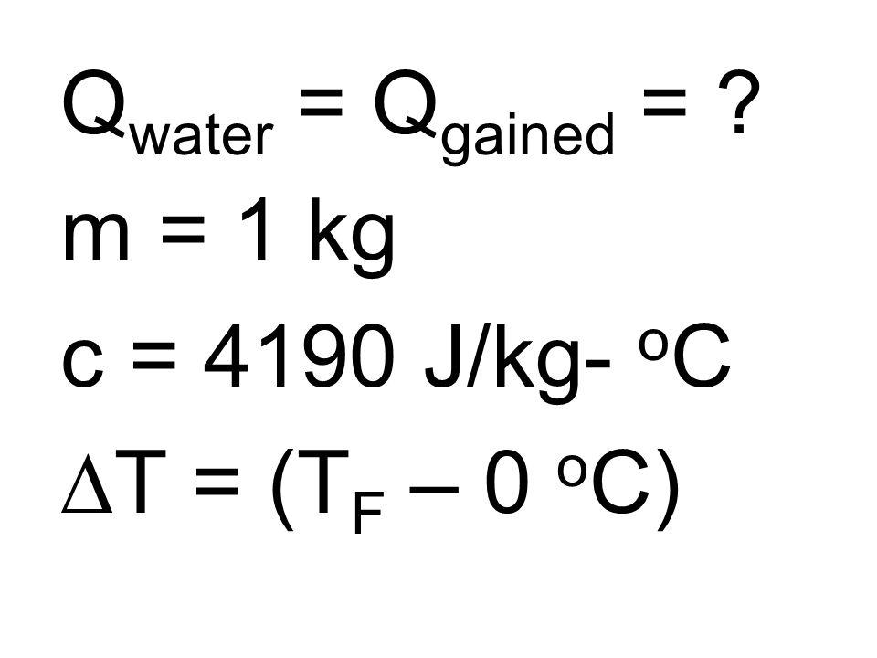 Q water = Q gained = ? m = 1 kg c = 4190 J/kg- o C T = (T F – 0 o C)