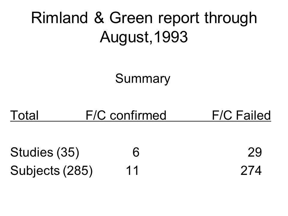 Rimland & Green report through August,1993 Summary Total F/C confirmedF/C Failed Studies (35) 6 29 Subjects (285)11274