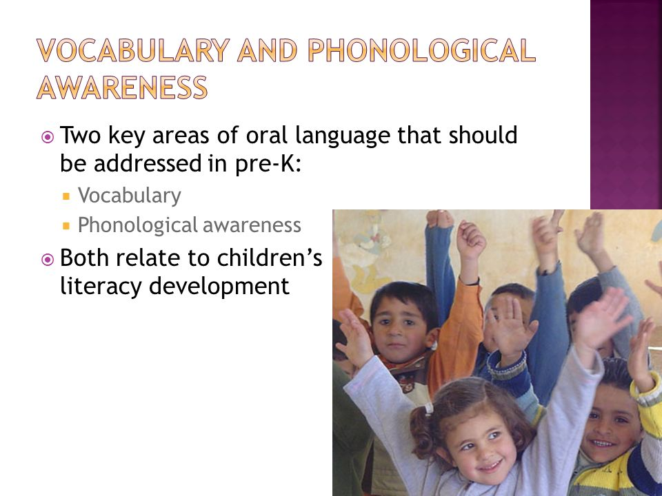 Two key areas of oral language that should be addressed in pre-K: Vocabulary Phonological awareness Both relate to childrens literacy development