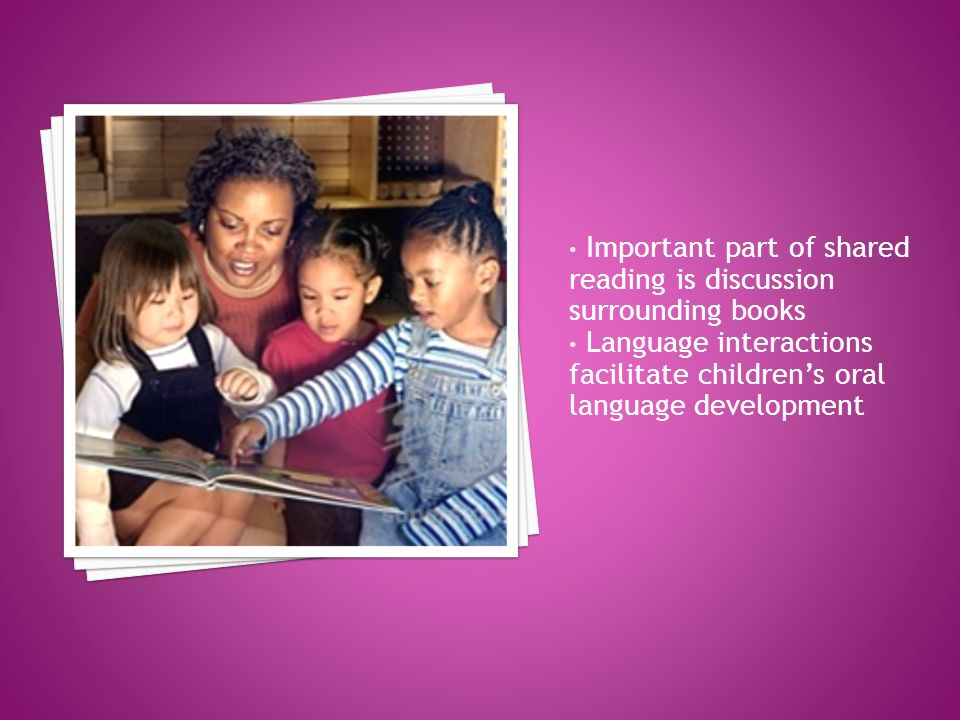 Important part of shared reading is discussion surrounding books Language interactions facilitate childrens oral language development